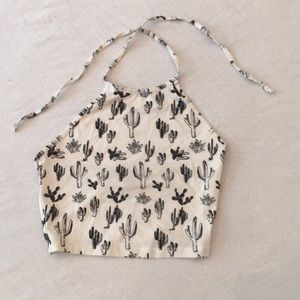 Forever 21 black and white cacti crop top